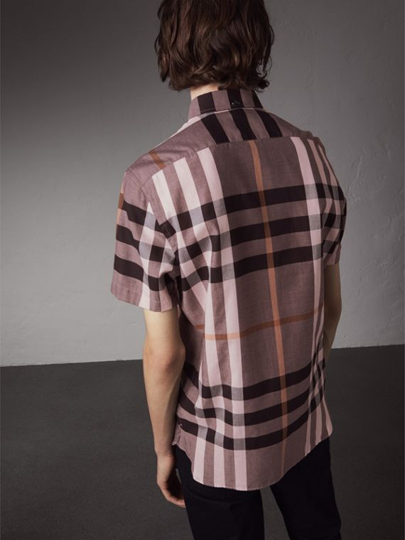 Button-down Collar Short-sleeve Check Cotton Shirt in Antique Rose - Men | Burberry - cell image 2