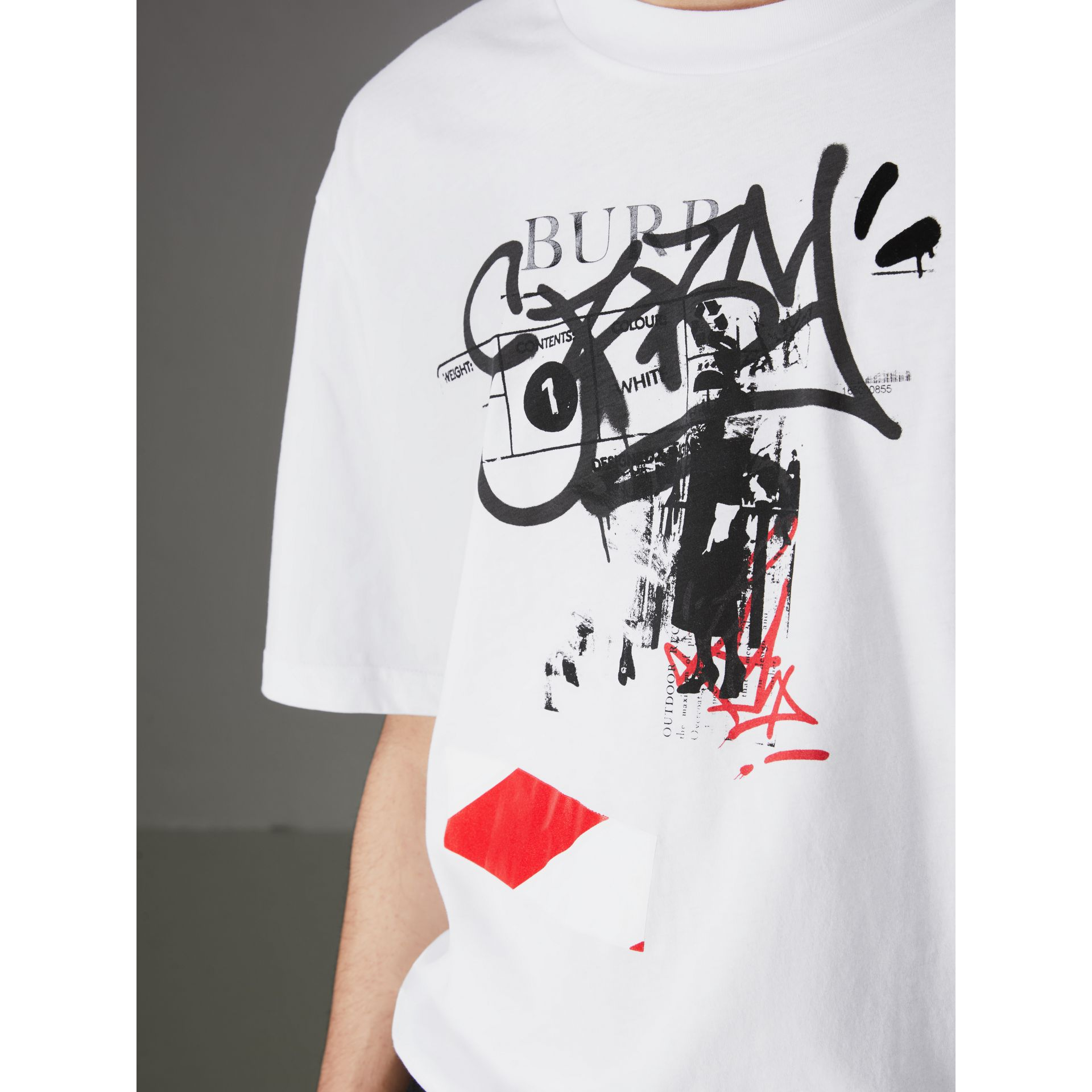 Graffitied Ticket Print Cotton T-shirt in White - Men | Burberry United States - gallery image 1