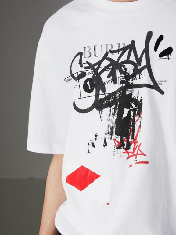 Graffitied Ticket Print Cotton T-shirt in White - Men | Burberry United States - cell image 1
