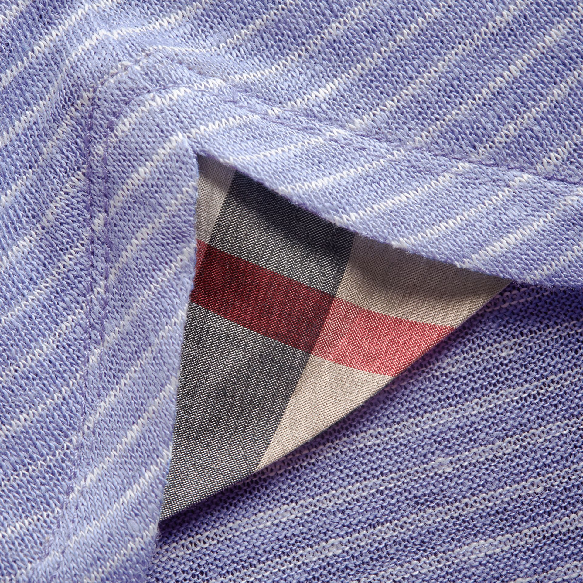 Bell-sleeve Check Detail Striped Linen T-shirt in Pale Blue/white - gallery image 2