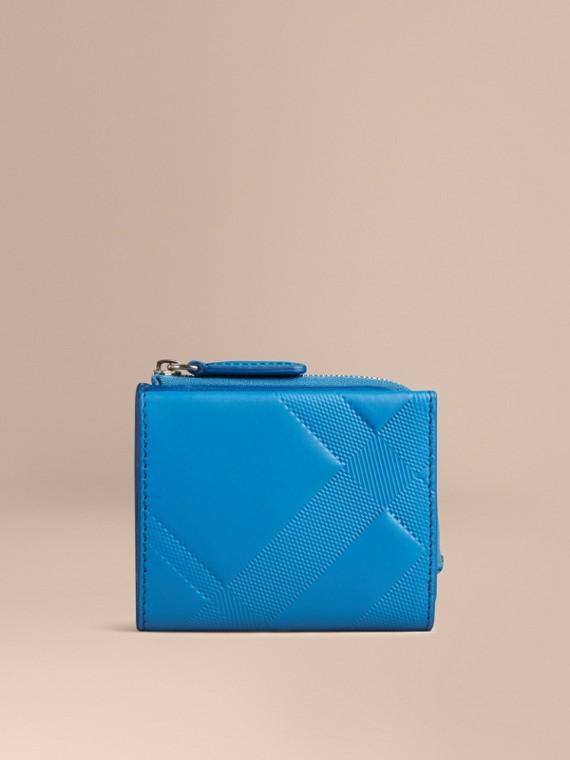 Лазурно-голубой Складной бумажник из кожи с тиснением в клетку Лазурно-голубой - cell image 2
