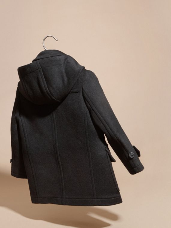 Wool Duffle Coat with Check-lined Hood Black - cell image 3