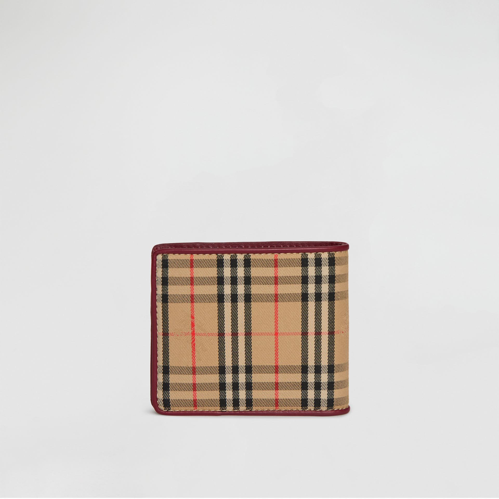 1983 Check and Leather International Bifold Wallet in Antique Red - Men | Burberry United Kingdom - gallery image 5