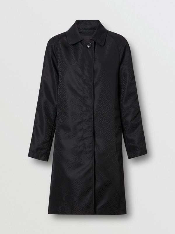 Monogram ECONYL® Jacquard Car Coat in Black - Women | Burberry - cell image 3