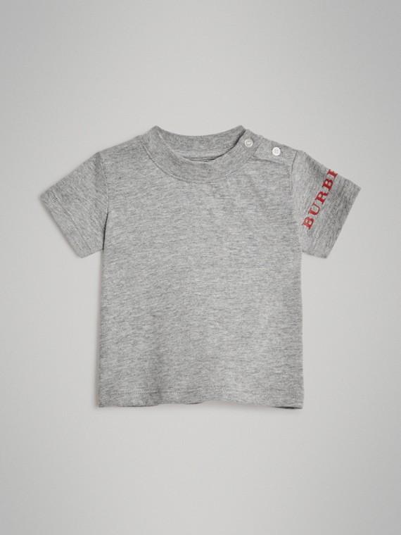 Camiseta de algodão com estampa de logotipo (Cinza Mesclado)