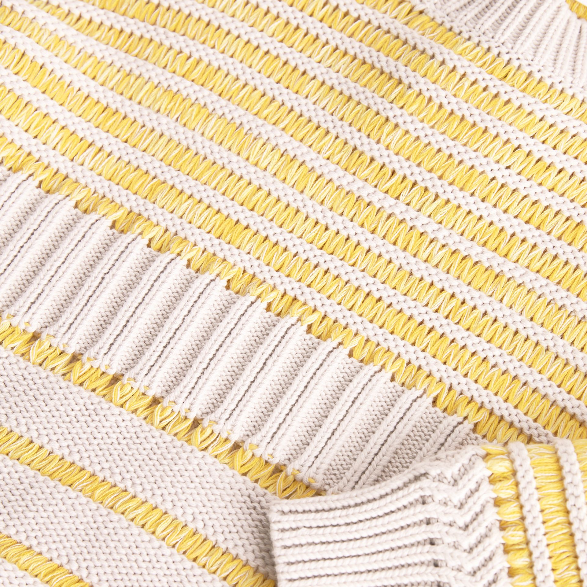 Rib Knit Cotton Sweater in Bright Yellow | Burberry - gallery image 1