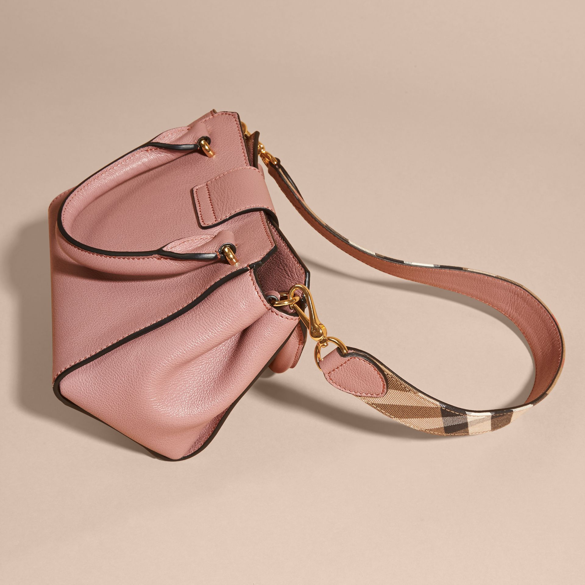 The Small Buckle Tote in Grainy Leather Dusty Pink - gallery image 5