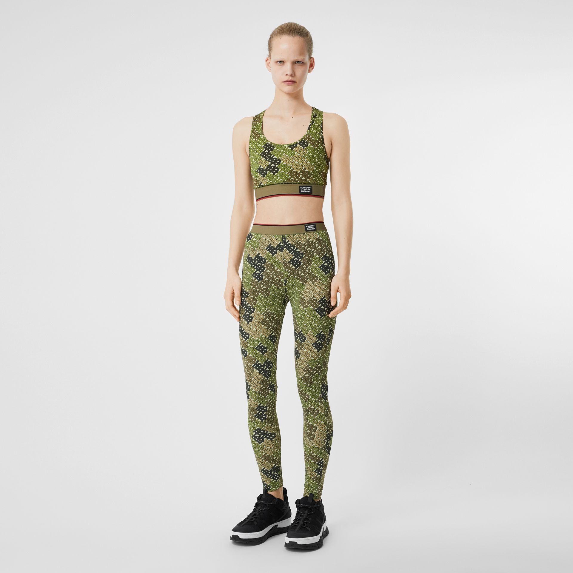 Monogram Print Stretch Jersey Bra Top in Khaki Green - Women | Burberry - gallery image 0