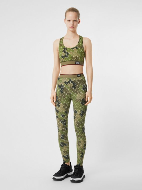 Monogram Print Stretch Jersey Bra Top in Khaki Green