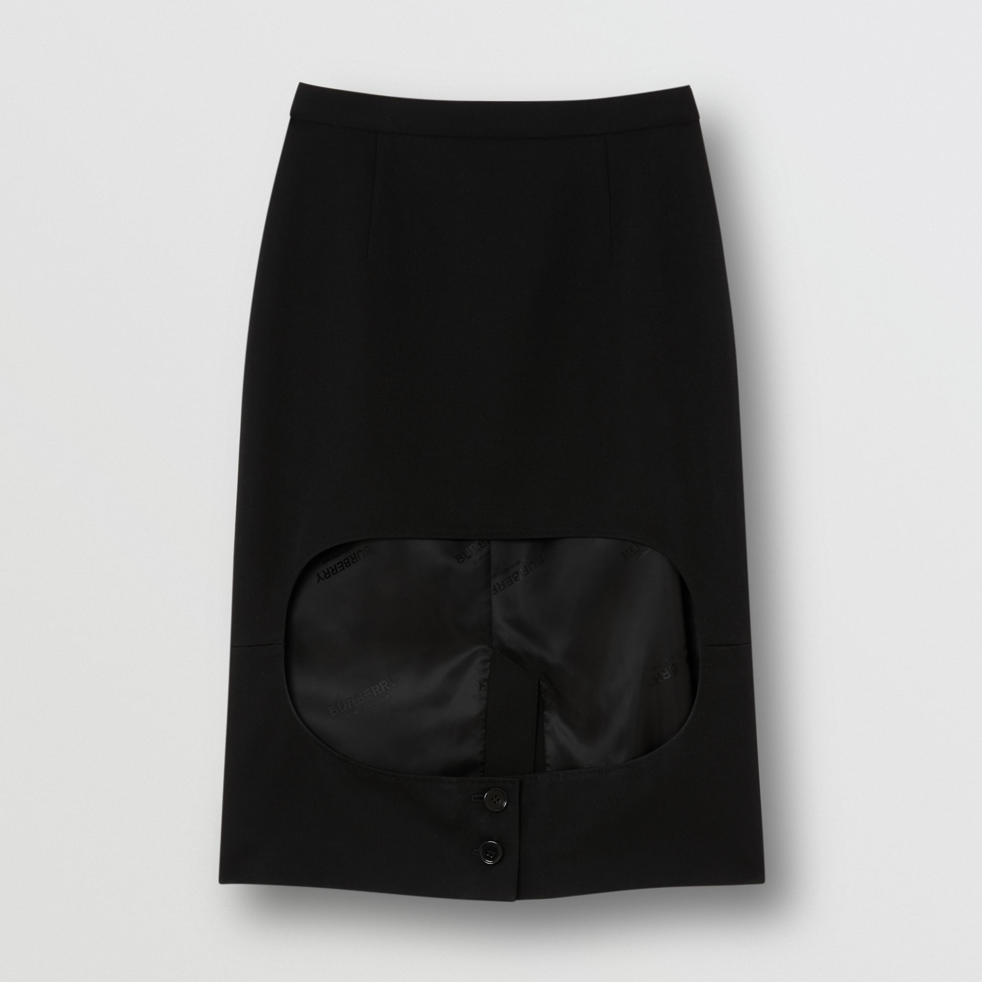 Grain De Poudre Wool Step-through Skirt in Black - Women | Burberry United Kingdom - gallery image 3