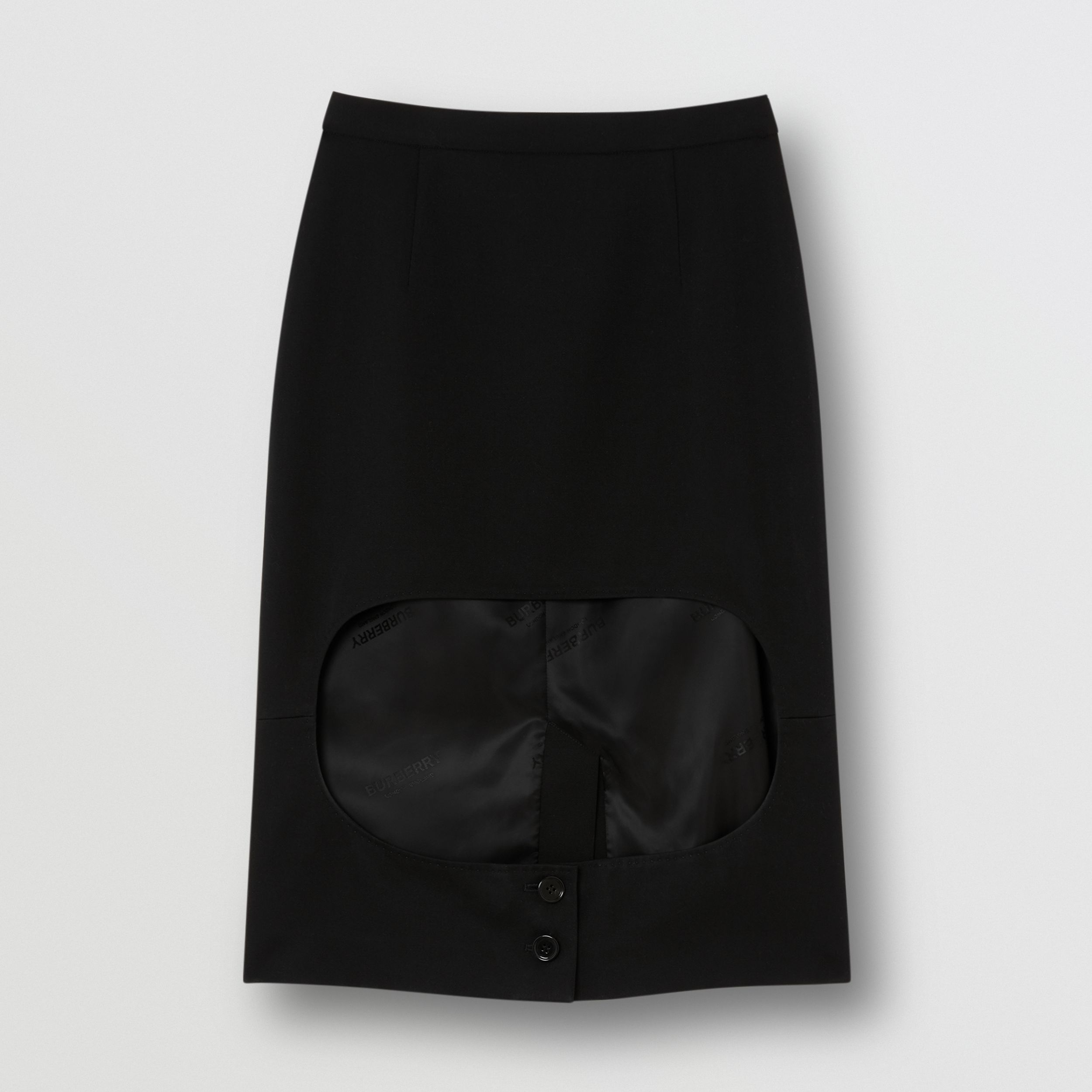 Grain De Poudre Wool Step-through Skirt in Black - Women | Burberry - 4