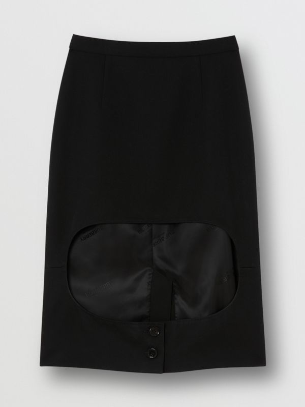 Grain De Poudre Wool Step-through Skirt in Black - Women | Burberry United Kingdom - cell image 3