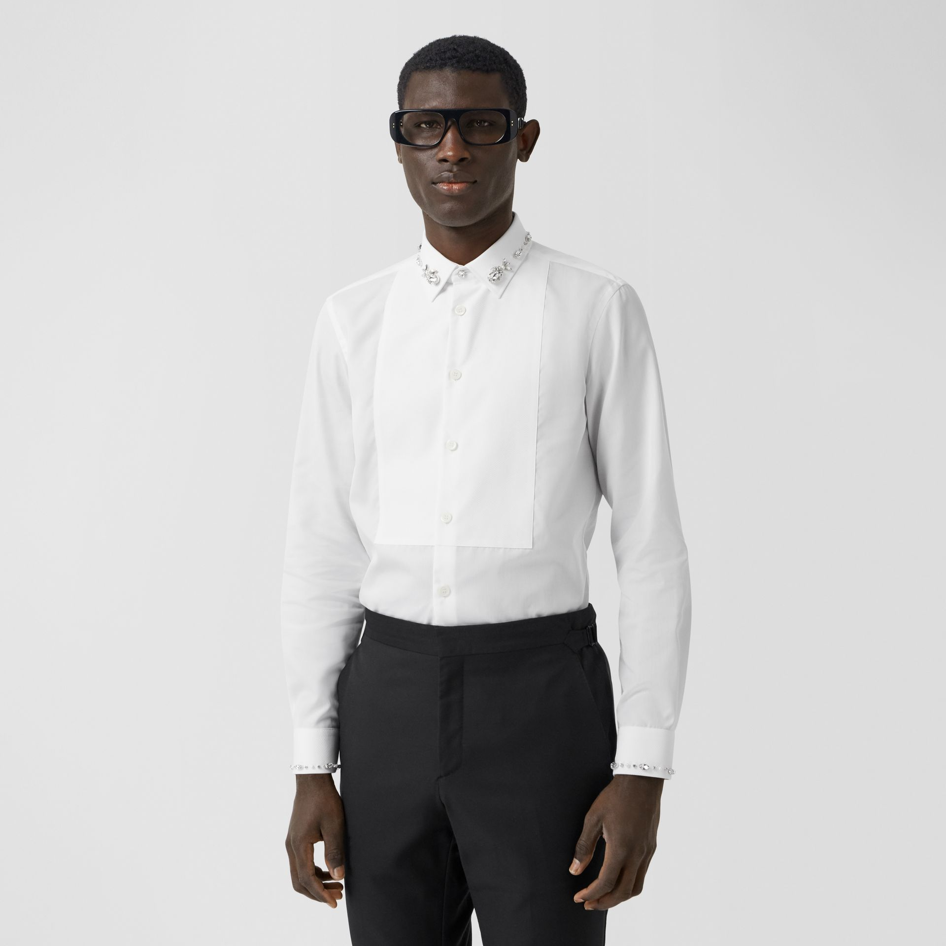 Slim Fit Embellished Cotton Poplin Shirt in White - Men | Burberry - gallery image 0