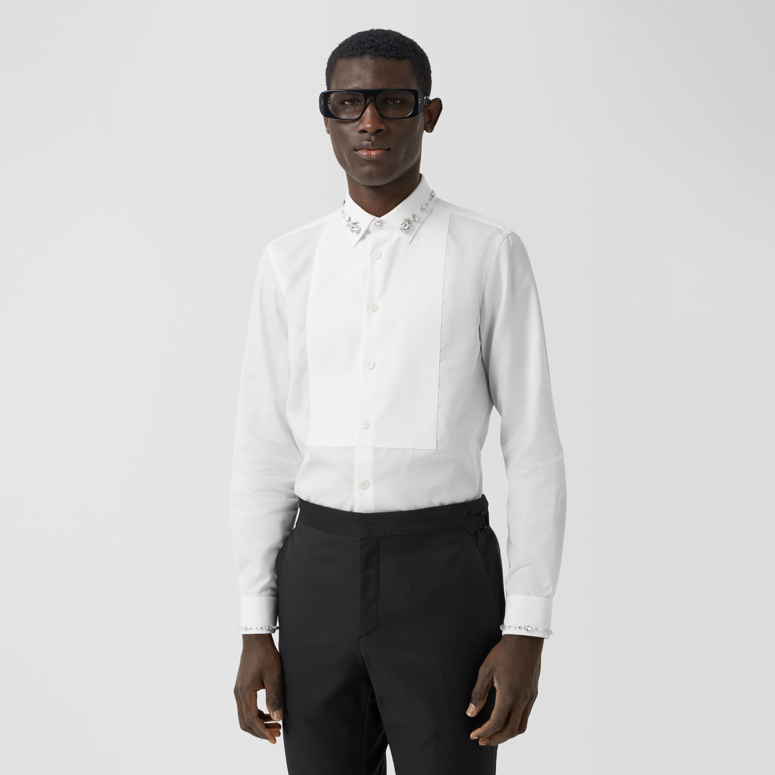 Slim Fit Embellished Cotton Poplin Shirt in White - Men | Burberry Australia - 1