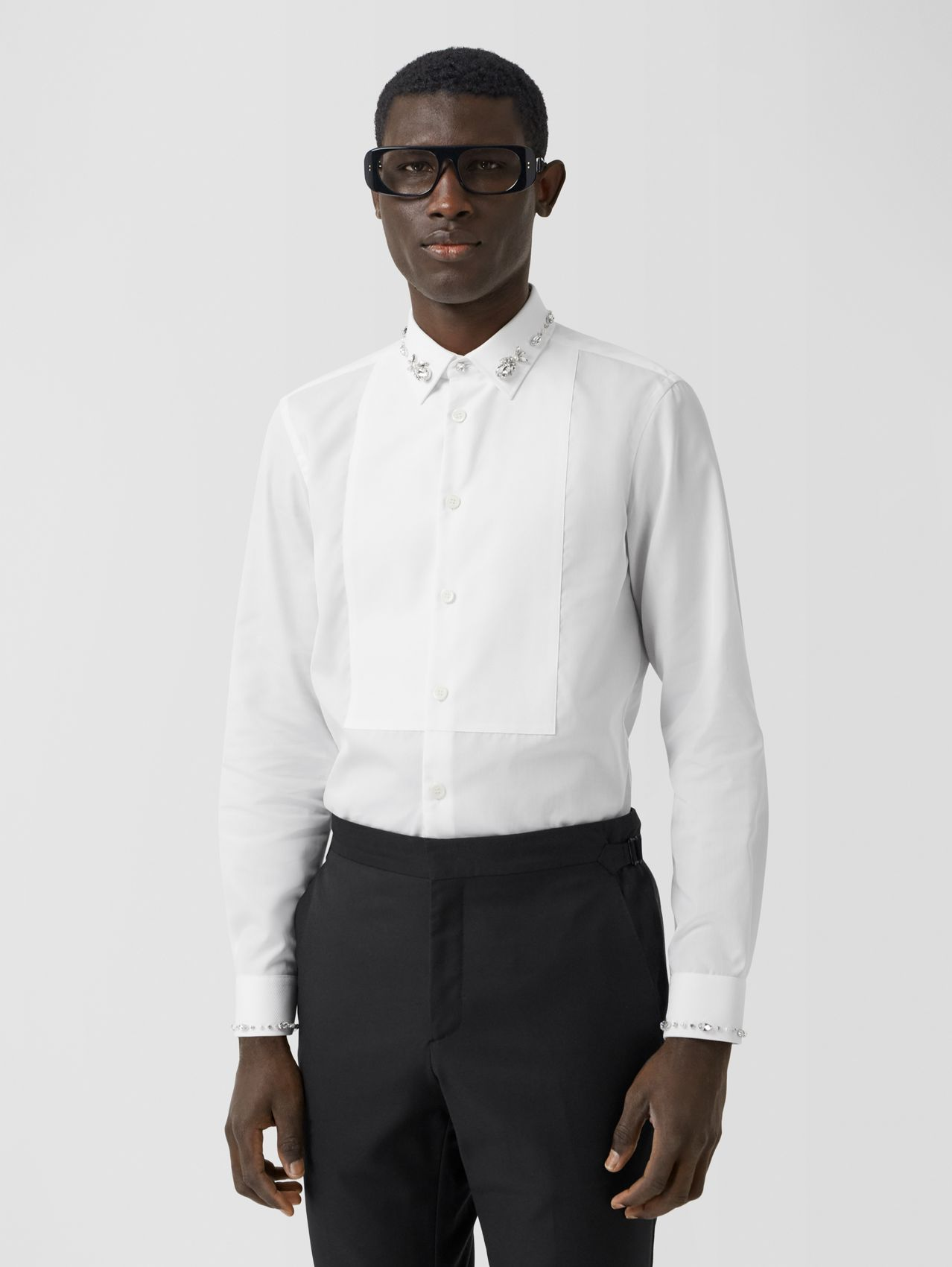 Slim Fit Embellished Cotton Poplin Shirt in White