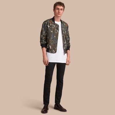Beasts Print Lightweight Bomber Jacket in Sage Green - Men ...