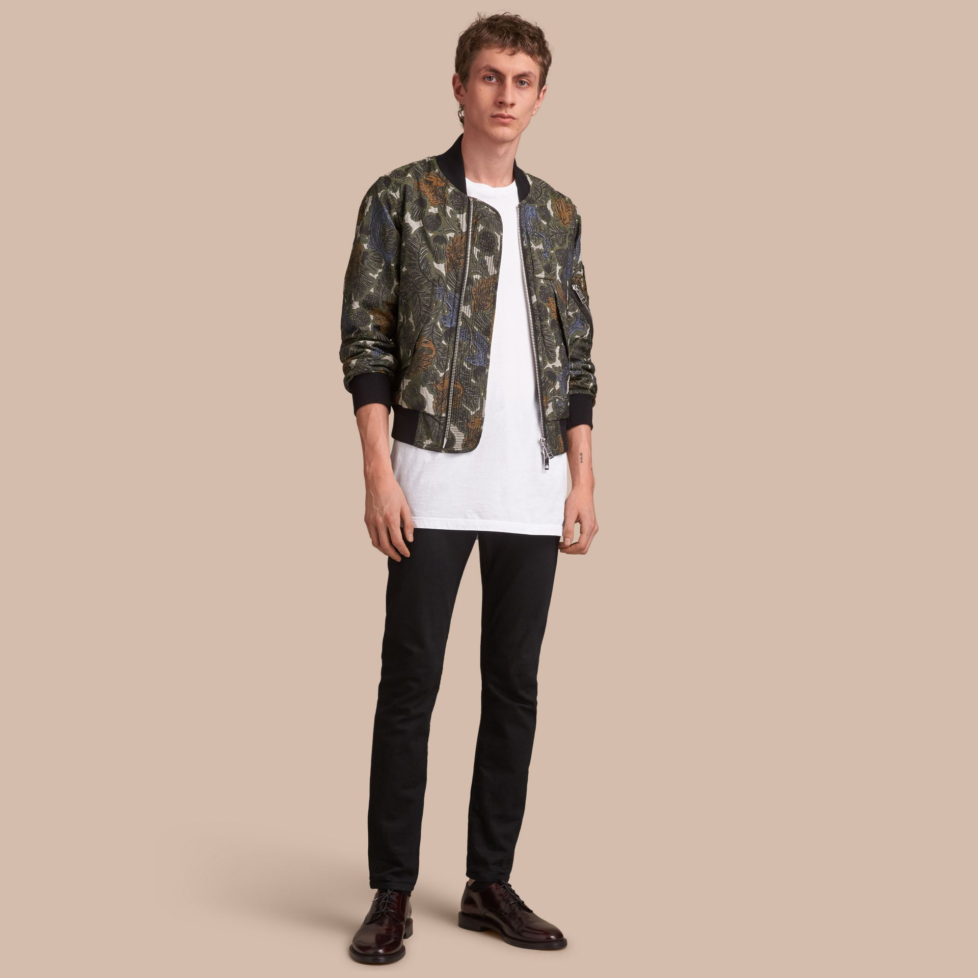 Beasts Print Lightweight Bomber Jacket in Sage Green - Men | Burberry - gallery image 1