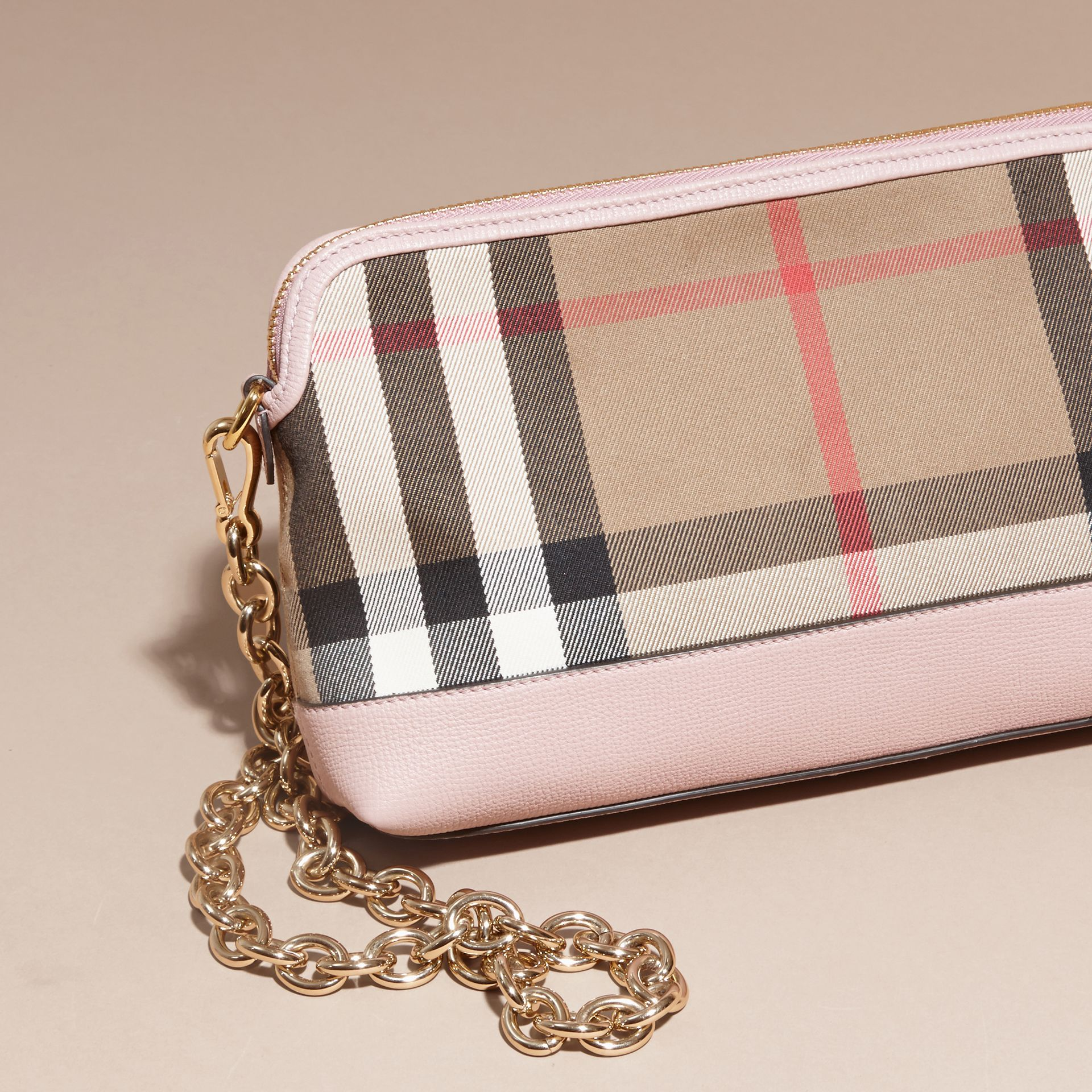 House Check and Leather Clutch Bag in Pale Orchid - Women | Burberry Australia - gallery image 5