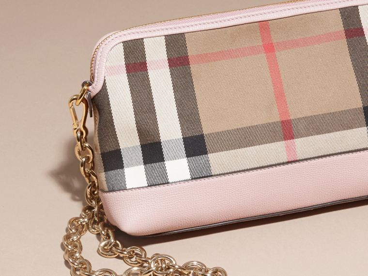 House Check and Leather Clutch Bag in Pale Orchid - Women | Burberry Australia - cell image 4