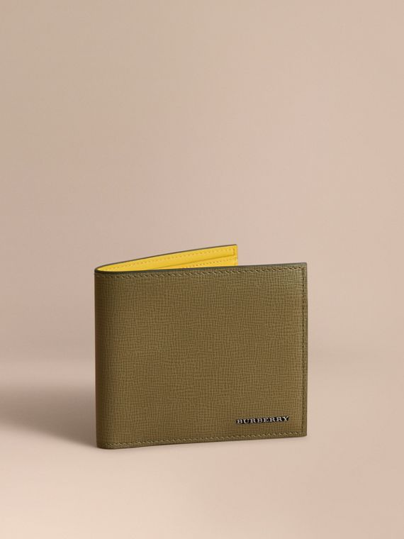 London Leather Folding Wallet in Olive Green