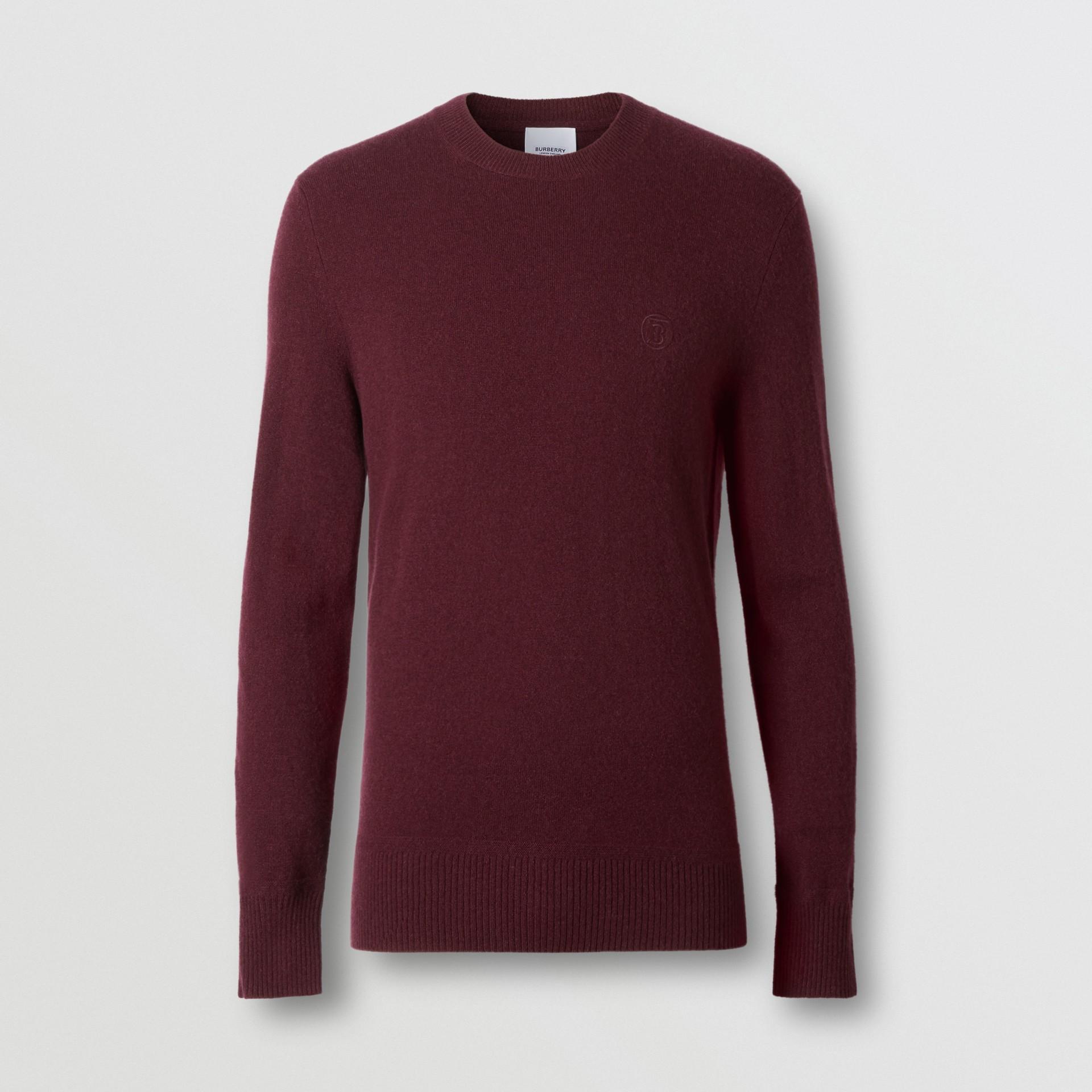 모노그램 모티프 캐시미어 스웨터 (버건디) - 남성 | Burberry - 갤러리 이미지 3