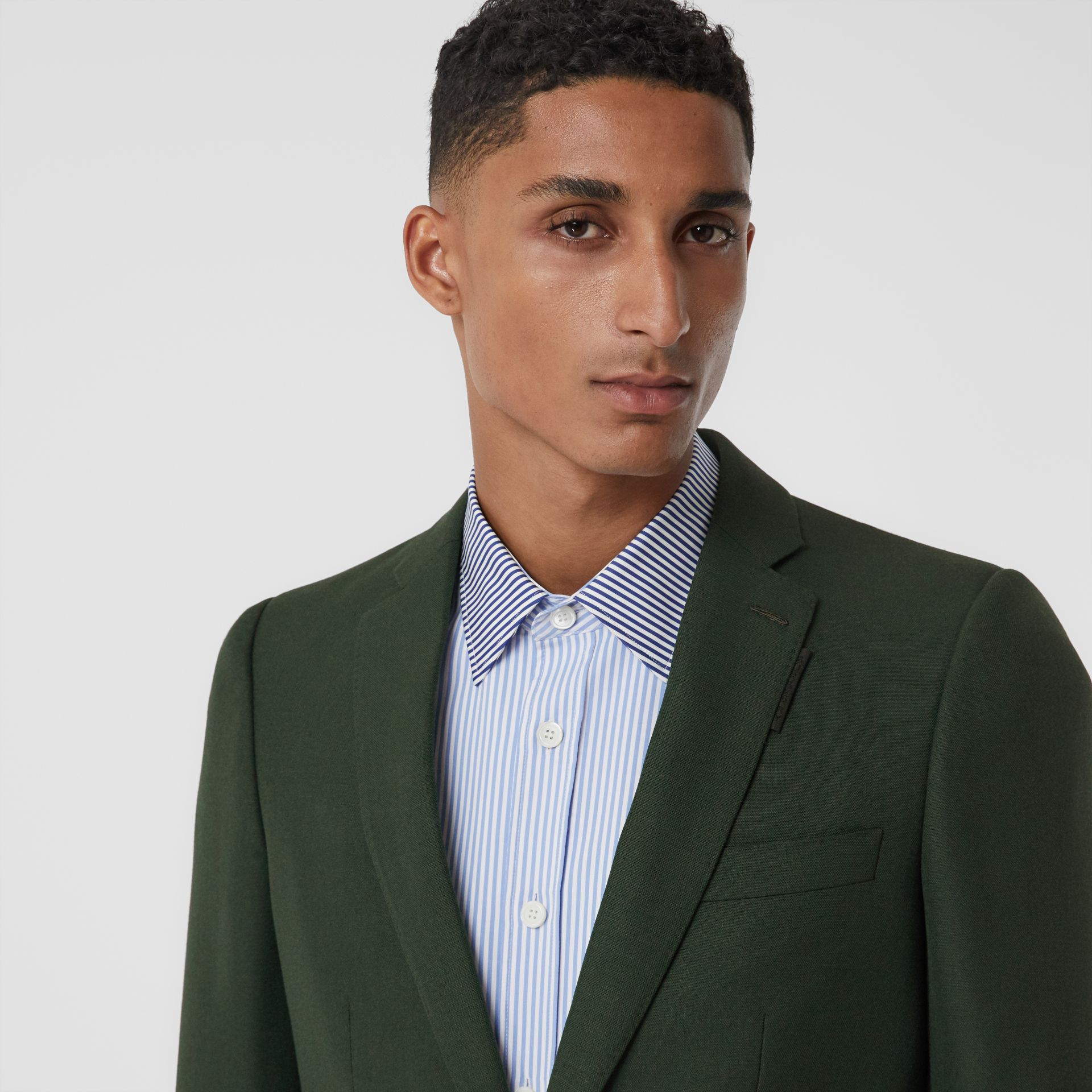 English Fit Wool Mohair Tailored Jacket in Dark Forest Green - Men | Burberry United Kingdom - gallery image 1