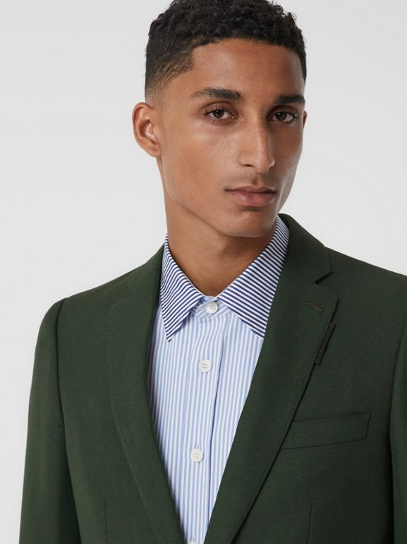 English Fit Wool Mohair Tailored Jacket in Dark Forest Green - Men | Burberry United Kingdom - cell image 1