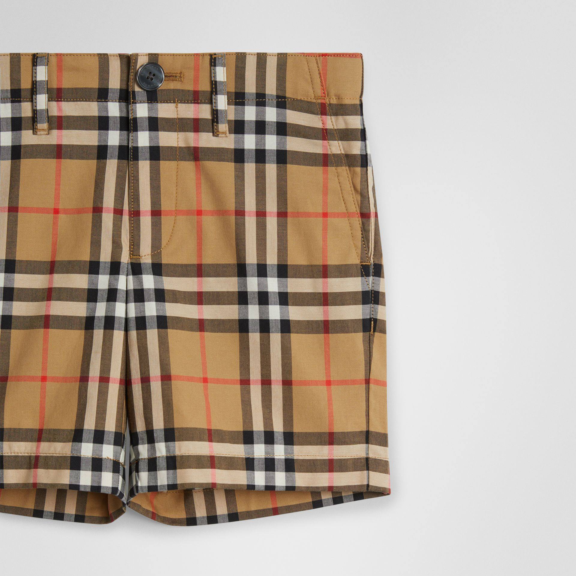 Vintage Check Cotton Tailored Shorts in Antique Yellow | Burberry United States - gallery image 4