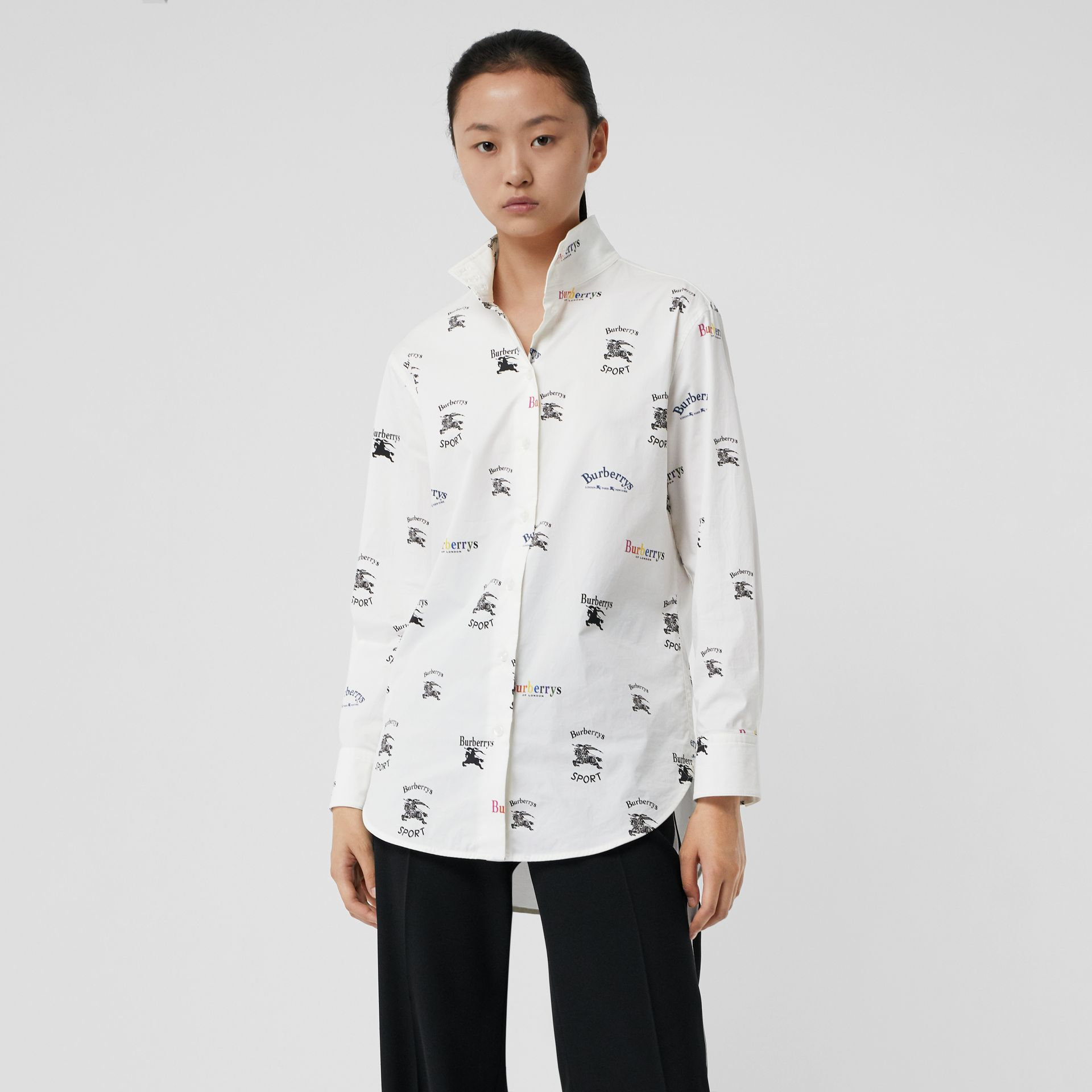 Triple Archive Logo Print Stretch Cotton Shirt in Multicolour - Women | Burberry Canada - gallery image 4