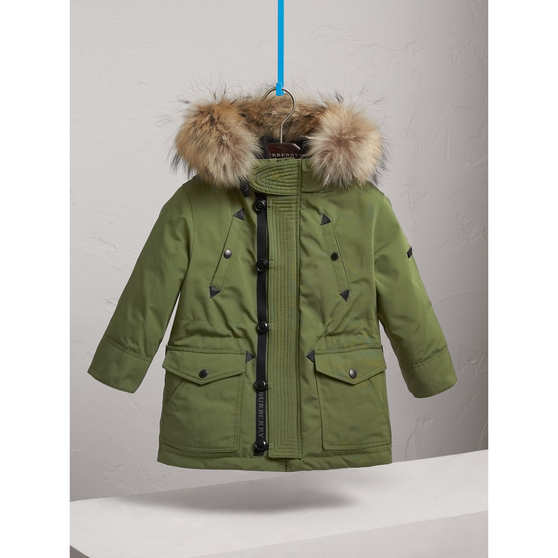 Fur-trimmed Down-filled Hooded Puffer Coat in Sage - Boy | Burberry United States - gallery image 2