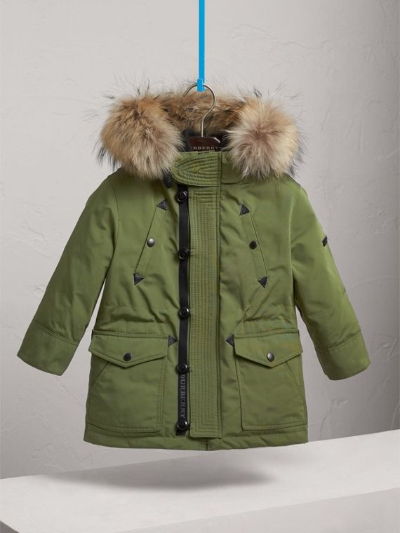 Fur-trimmed Down-filled Hooded Puffer Coat in Sage - Boy | Burberry - cell image 2
