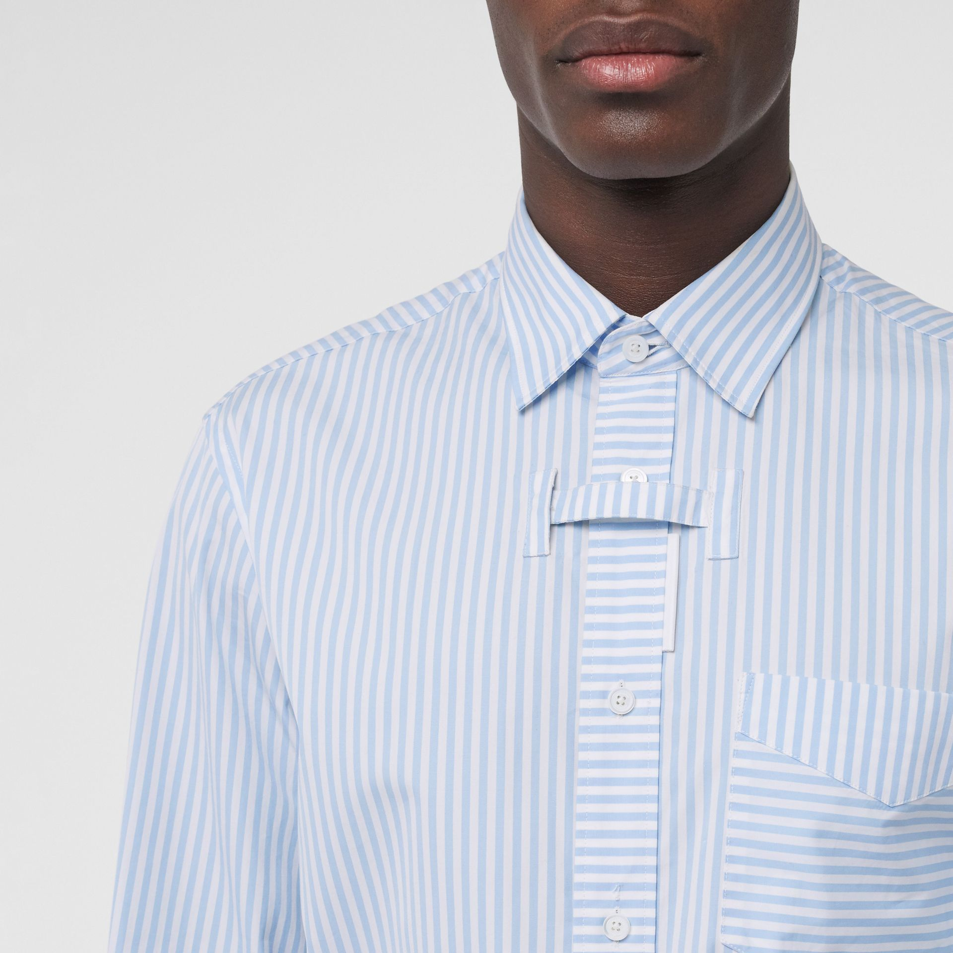 Striped Cotton Shirt and Tie Twinset in Pale Blue | Burberry Singapore - gallery image 4