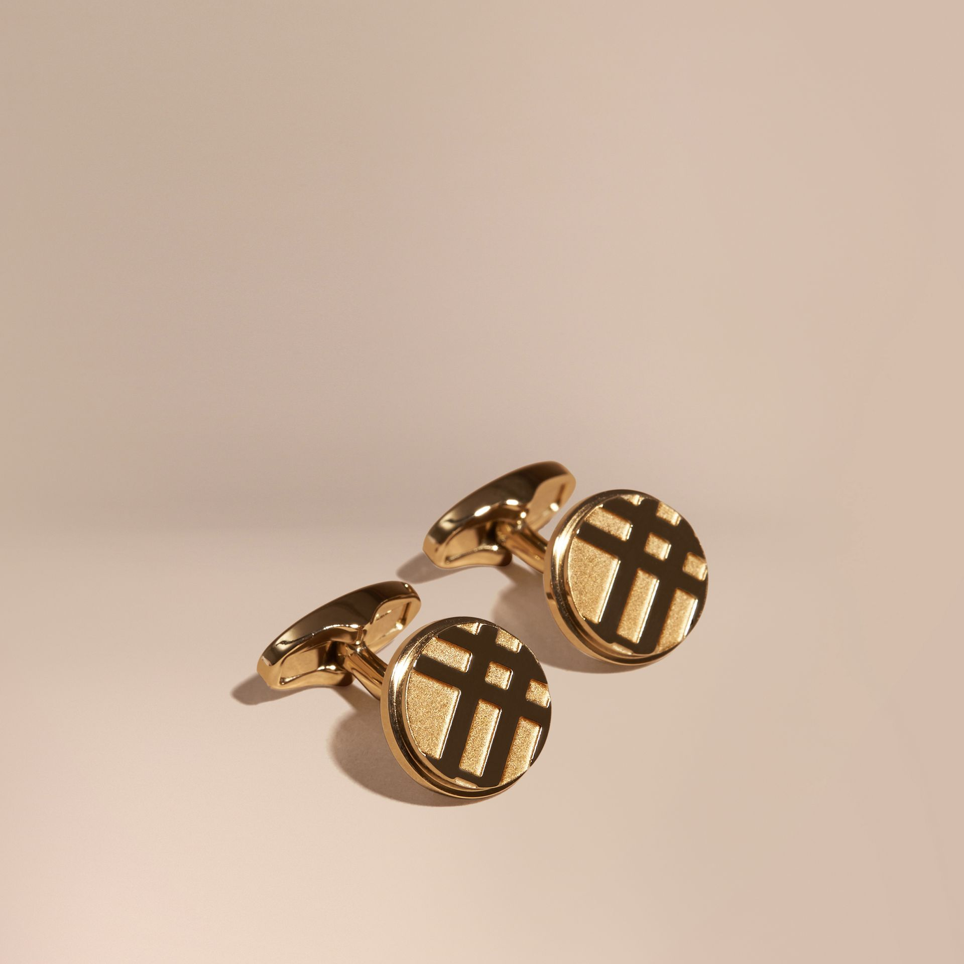 Check-engraved Round Cufflinks in Pale Gold - gallery image 1