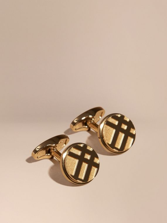 Check-engraved Round Cufflinks in Pale Gold - Men | Burberry Singapore
