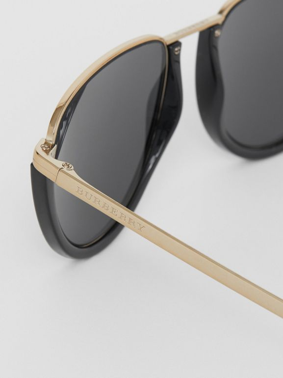 Half Moon Pilot Round Frame Sunglasses in Black - Women | Burberry United States - cell image 1