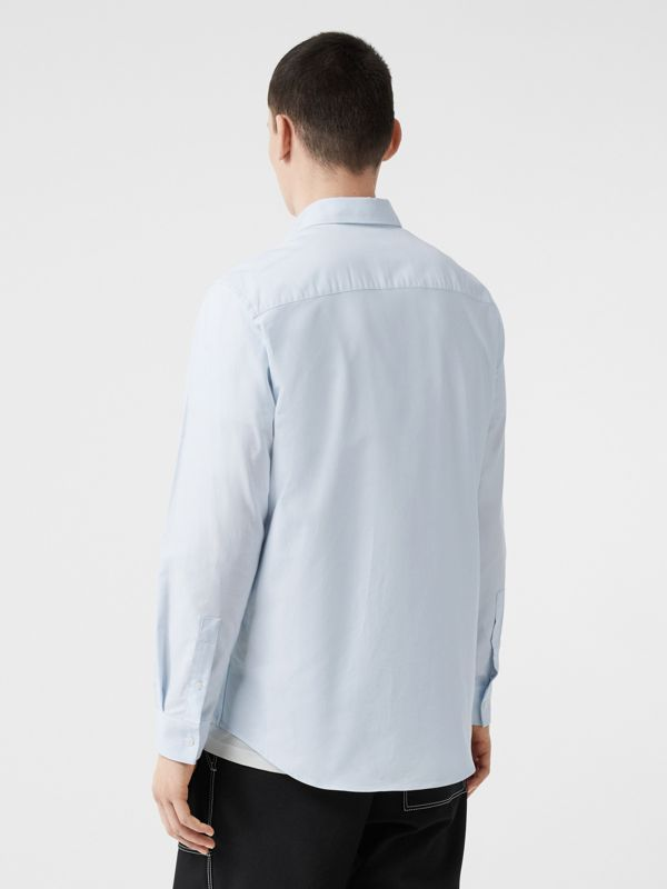 Logo Detail Cotton Oxford Shirt in Sky Blue - Men | Burberry - cell image 2