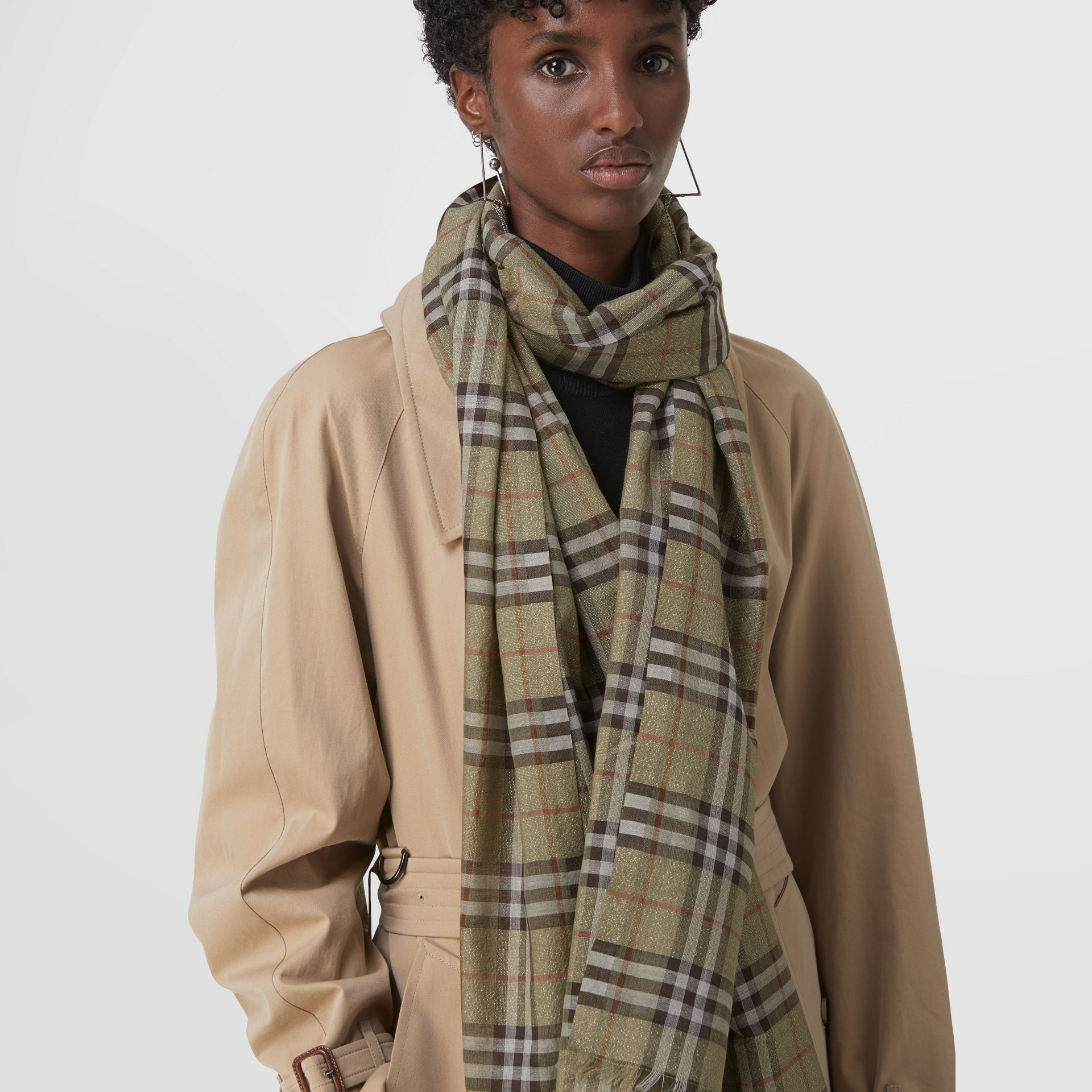 Metallic Vintage Check Wool Silk Blend Scarf - Women | Burberry - gallery image 4