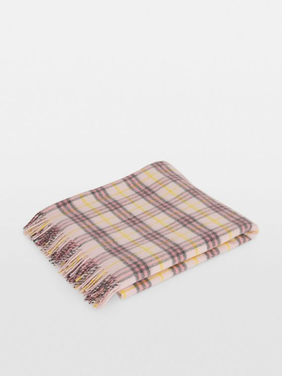 Check Cashmere Baby Blanket in Pale Blossom