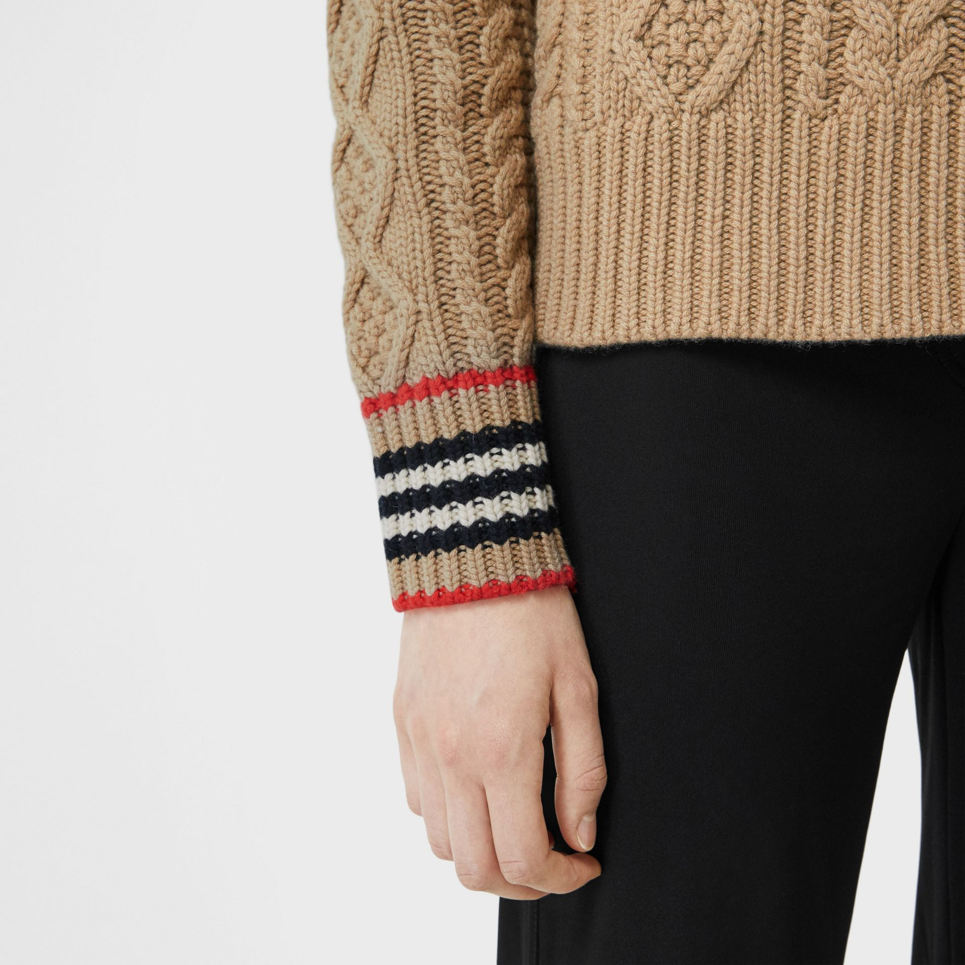 Icon Stripe Cuff Cable Knit Cashmere Sweater in Camel - Women | Burberry - gallery image 3