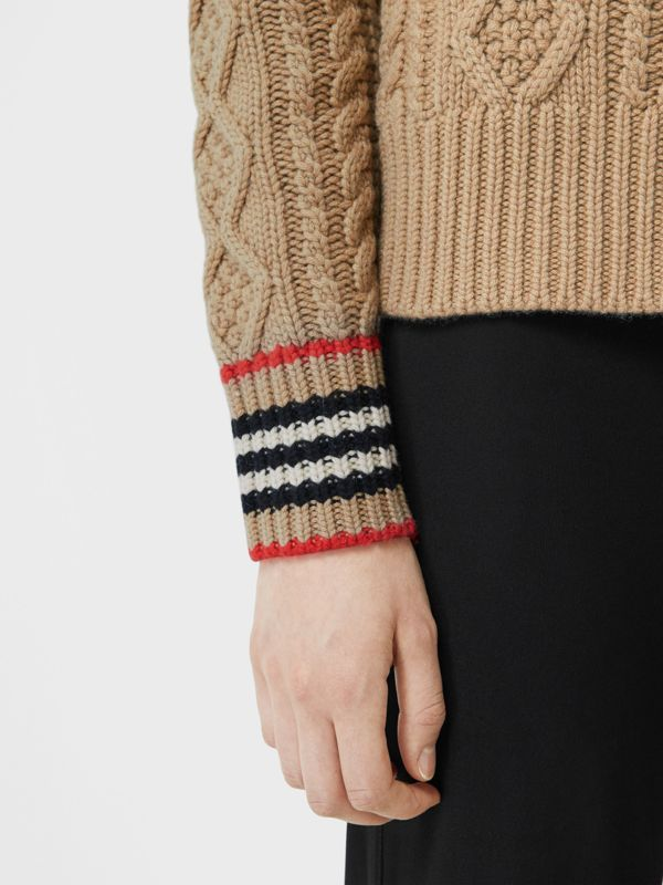Icon Stripe Cuff Cable Knit Cashmere Sweater in Camel - Women | Burberry - cell image 3
