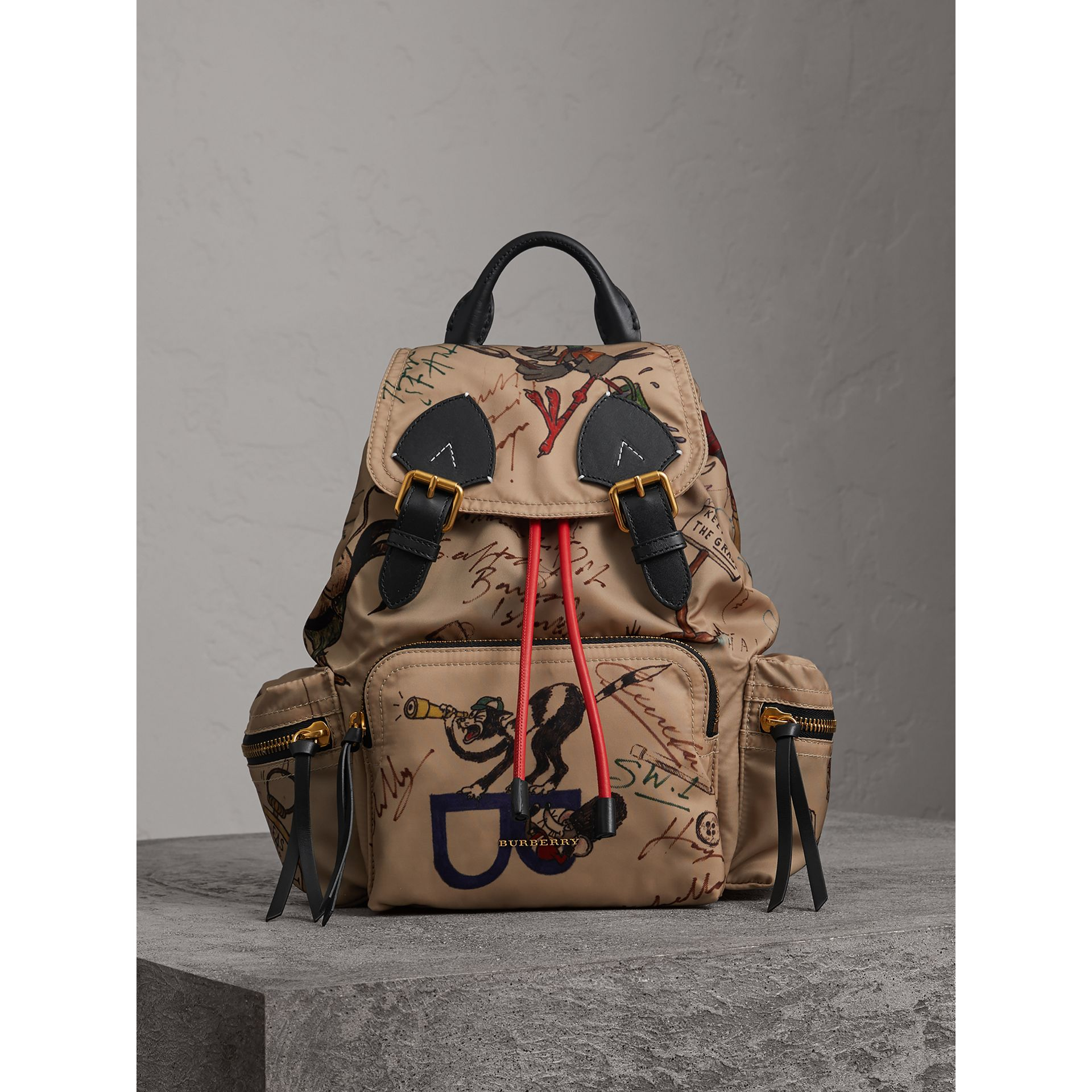 The Medium Rucksack in Sketch Print Nylon in Honey - Women | Burberry - gallery image 5