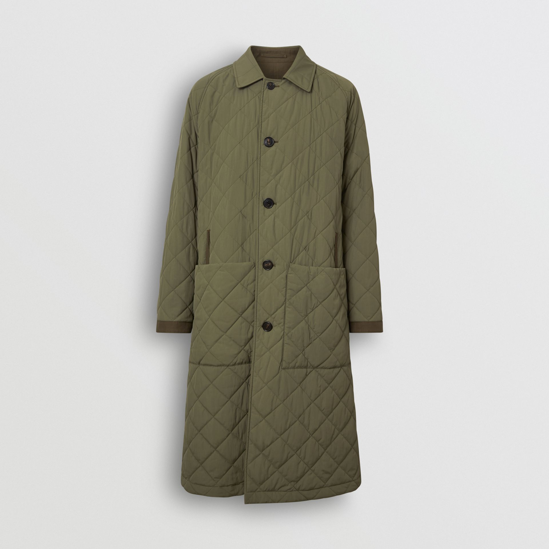 Reversible Diamond Quilted and Cotton Car Coat in Dark Olive - Men | Burberry United Kingdom - gallery image 4