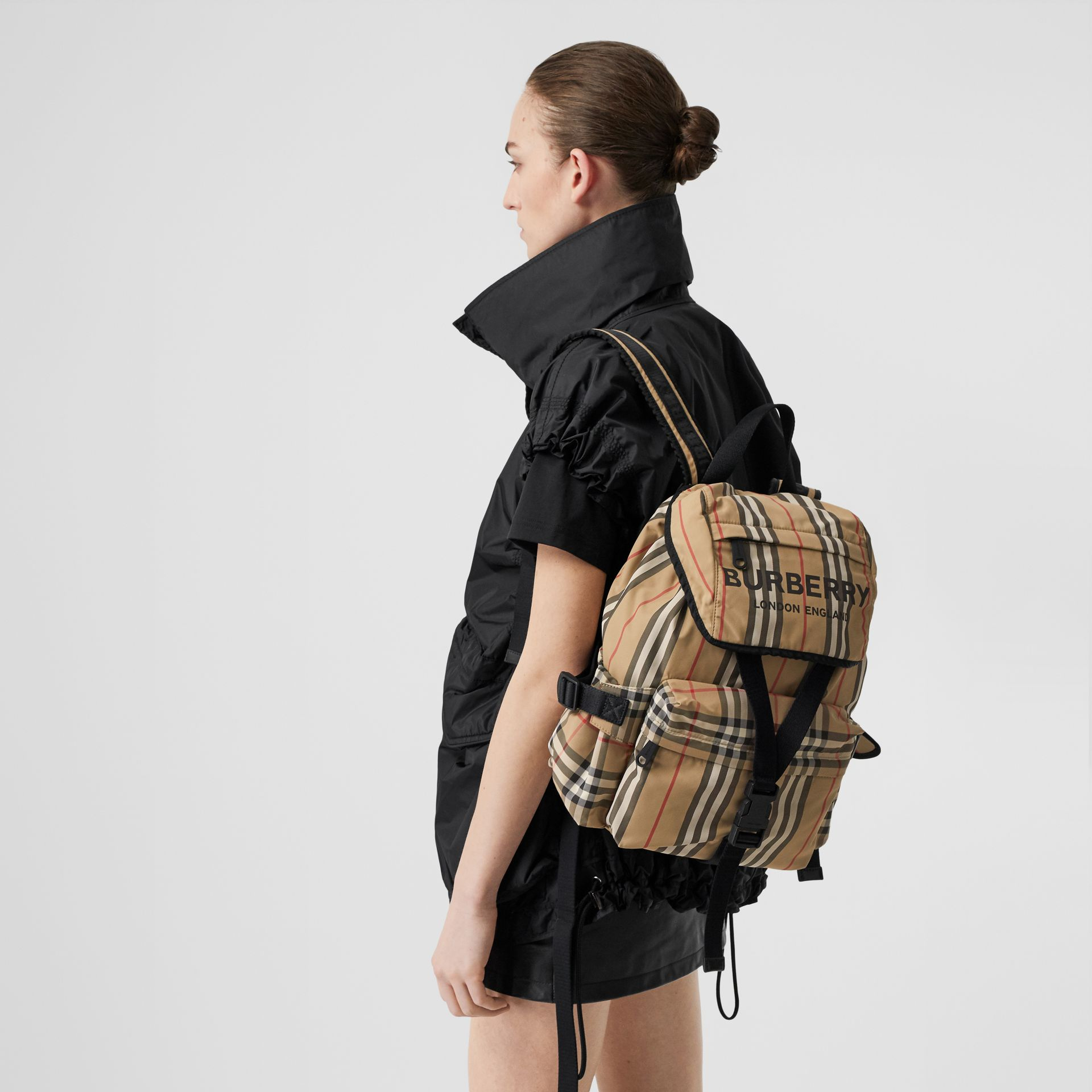 Logo Print Icon Stripe Nylon Backpack in Archive Beige - Women | Burberry - gallery image 2