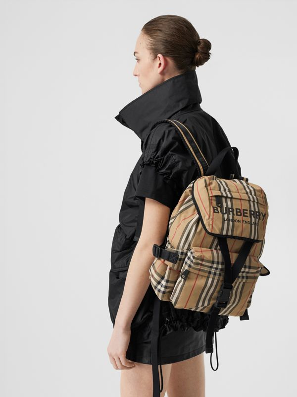 Logo Print Icon Stripe Nylon Backpack in Archive Beige - Women | Burberry United Kingdom - cell image 2