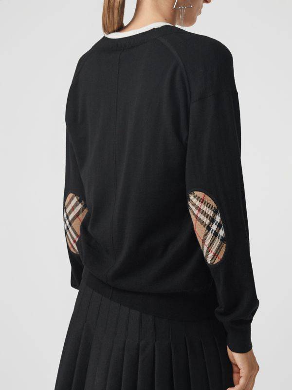 Vintage Check Detail Merino Wool Cardigan in Black - Women | Burberry - cell image 2