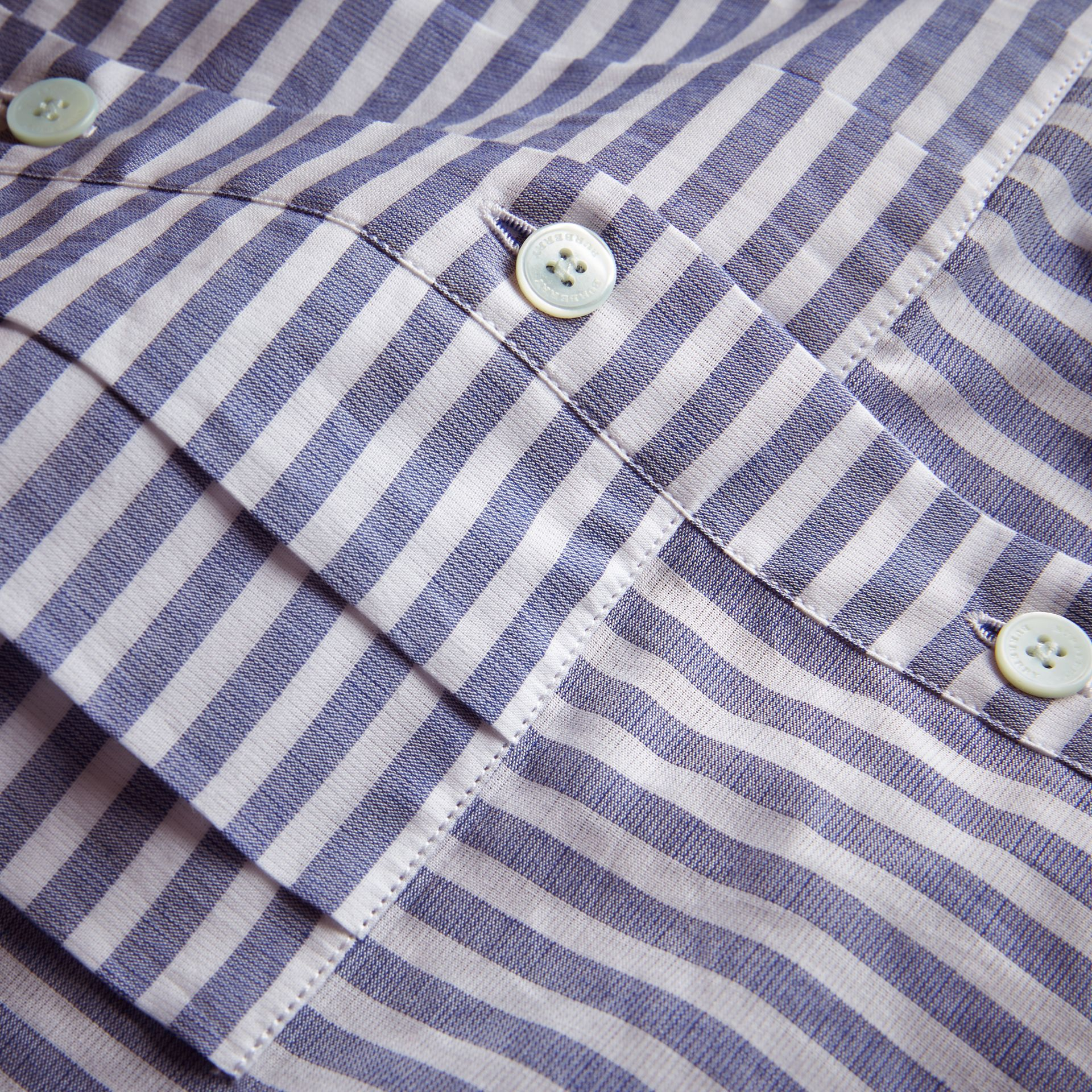 Pleated Bib Striped Cotton Shirt - gallery image 2