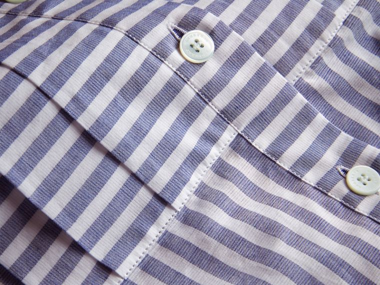 Pleated Bib Striped Cotton Shirt - cell image 1