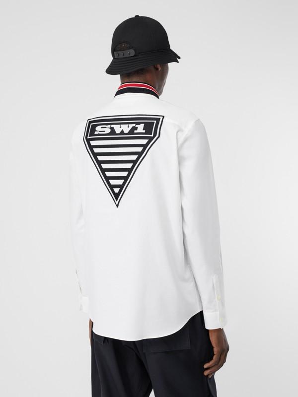 Camicia Oxford oversize in cotone con logo (Bianco) - Uomo | Burberry - cell image 2