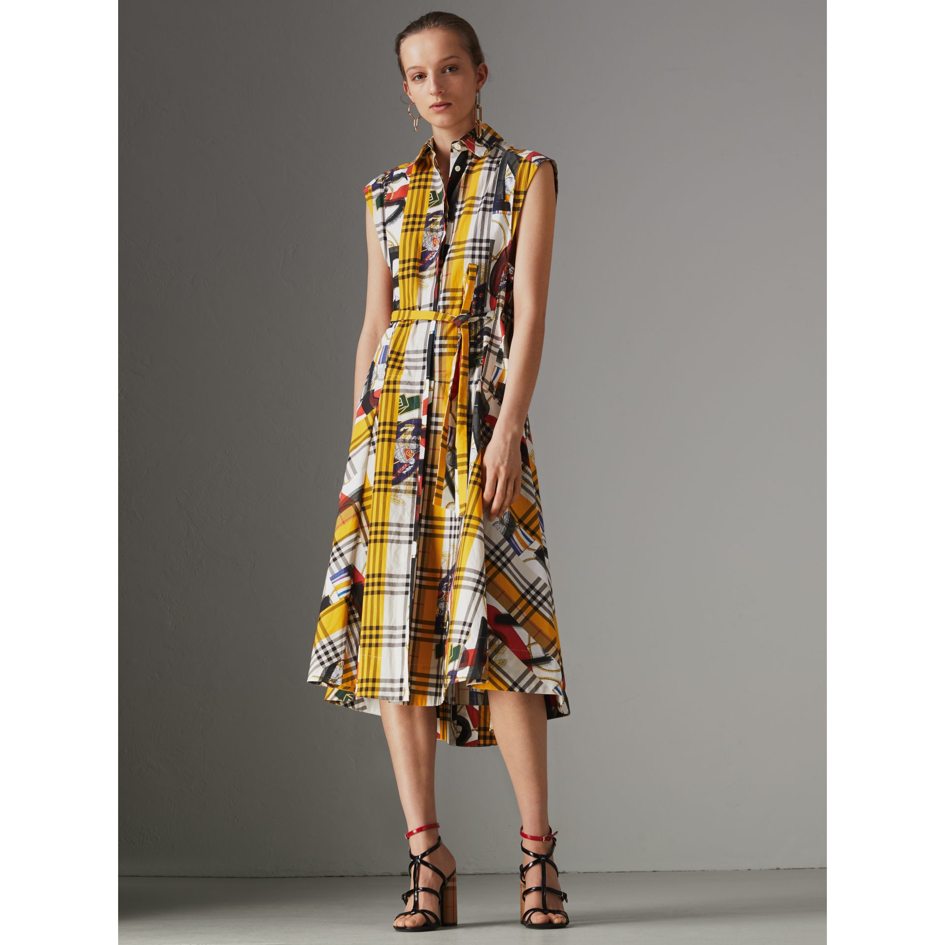 Archive Scarf Print Check Cotton Shirt Dress in Multicolour - Women | Burberry United Kingdom - gallery image 4