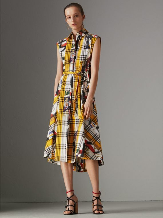 Archive Scarf Print Check Cotton Shirt Dress in Multicolour